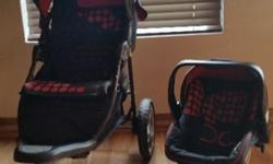 Red & Black Chelino Apache travel system for sale. In