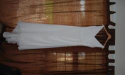 New Worn Chiffon Wedding Dress, size 34. Beading work