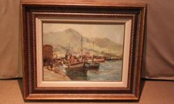 "Boat scene ""24x18"" with nice frame!One offSA's top"