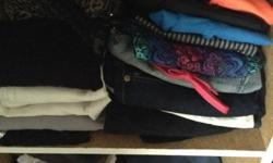 Large black Bag of clothes, shoes, belts etc. looking