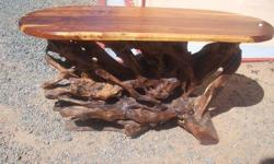Hand crafted kiaat top tree root coffee table 120 cm