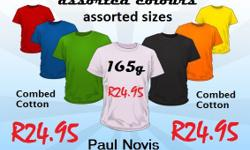 T-shirts available in various colours and sizes ranging
