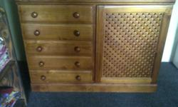 Solid wood compactum with 5 drawers, swing cupboard