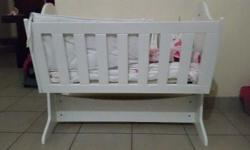 Solid wood Rocking Crib with matching compactum &