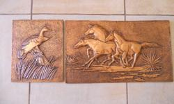 A beautiful copperwork painting, horses running,plus