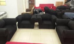 NEW COUCHES FOR SALE 4 PIECE BLACK SUEDE. BRAND NEW SEE