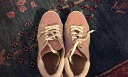Country Road Pink Suede Sneakers with beige trim and