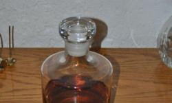 Crystal Decanter with thick base and stopper.