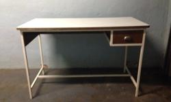 Desk for sale (wooden top on metal frame and a single