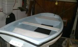 Dinghy fibre glass  3 man with oars and anchor.Newly