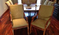 8x solid wood chairs with beige upholstery in excellent