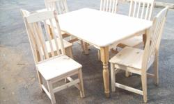 Solid Pine Dining Room Table (1500x900) and chairs for