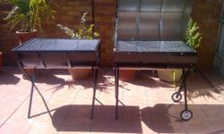 Half drum braais - made from 210 litre steel drum with