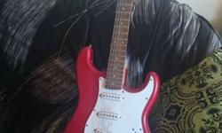 Red and white Santafe electric guitar for sale with