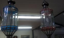 2 large bevelled glass hanging lights. R1850 each.