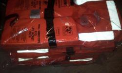 Five 150N night rated life jackets in sealed packets. R