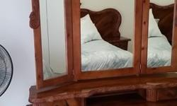 Beautiful Full Solid Wood Bedroom Set For Sale. This