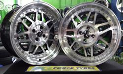 "G FORCE TYRES -- 17"" stepped SNOWFLAKES--8.5J rear, 7.5"