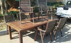 Wooden slatted patio set , slatted table measuring 1.1