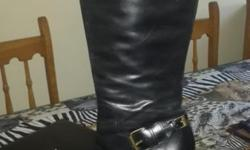 Genuine Leather Black Boots with buckle detail from