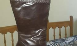 Genuine Leather Brown Boots with stitching detail from