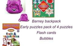 Barney backpack Early puzzle pack of 4 puzzles Bubbles