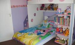 Lovely pink and purple bunk bed for sale. 3/4 bed at