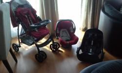 Secondhand Graco pram, car seat and case base.
