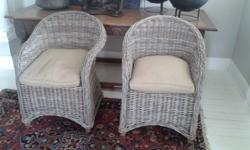 2x Grey Kubu Cane Chairs With Cushions As New! - R1700