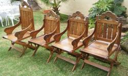 4 wooden chairs, hand crafted, circa 1950s, we think.
