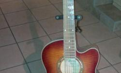 Ibanez AEL20E acoustic guitar with hard case and stand.
