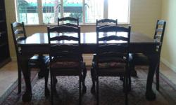 Large Imbuia Diningroom table with 6 chairs and