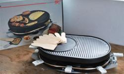 Italian electric Party grill, raclette and crepés, with