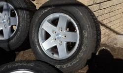 4XRims with tyres and spare tyre. Goodyear wrangler