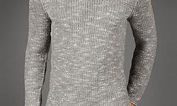 Wool marled-knit long sleeve v-neck sweater. Light Grey