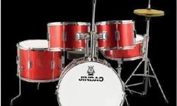 1/2 Size drum set. Red Comes with seat, pedal, stands,