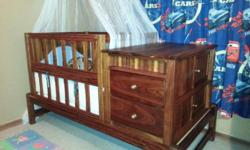Kaait Cot with chest of draws, Converts into Single