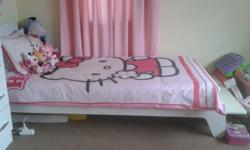 Kids single bed with matress White, in good condition