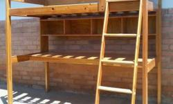 Kids single bed bunk/desk combo for sale. Bed size