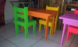 2 Chairs and 1 Table. R600. Made of pine. Hand made.