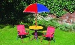 Kiddies table and chairs with umbrella set. R400 ONCO.