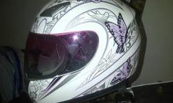 Ladies pink, white and grey butterflied Mars helmet for