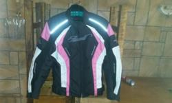 Ladies (Assault) pink black and white motorcycle jacket