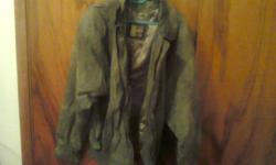 XL grey men's leather jacket with satin lining in good