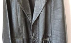 BLACK LEATHER SPORTSJACKET, large size, lined, in
