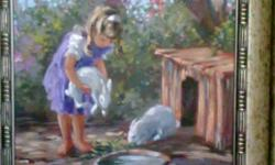 2 Beautiful paintings of a boy and girl feeding