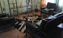 Black Leather lounge suite for sale, 2 chairs 1 couch