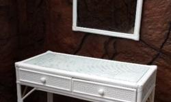 Lovely cane dresser & mirror. Painted white with glass