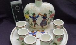 Majolica Art Deco Hand Painted Porcelain 8 piece