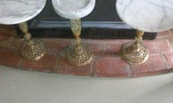 2 Marble side tables with brass stand. 1 Marble ashtray